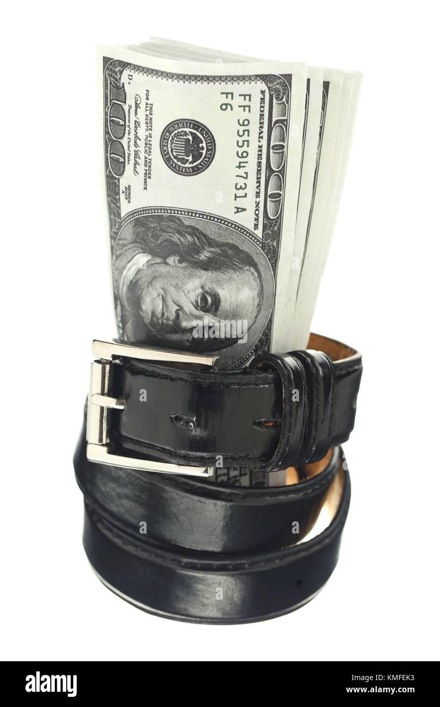 dollars with black belt - Stock Image