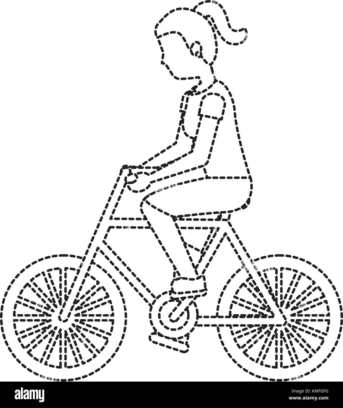 woman with bike black and white stock photos images alamy Springs Chopper Grease Frame with 1970s Dampemed woman riding bike icon image stock image