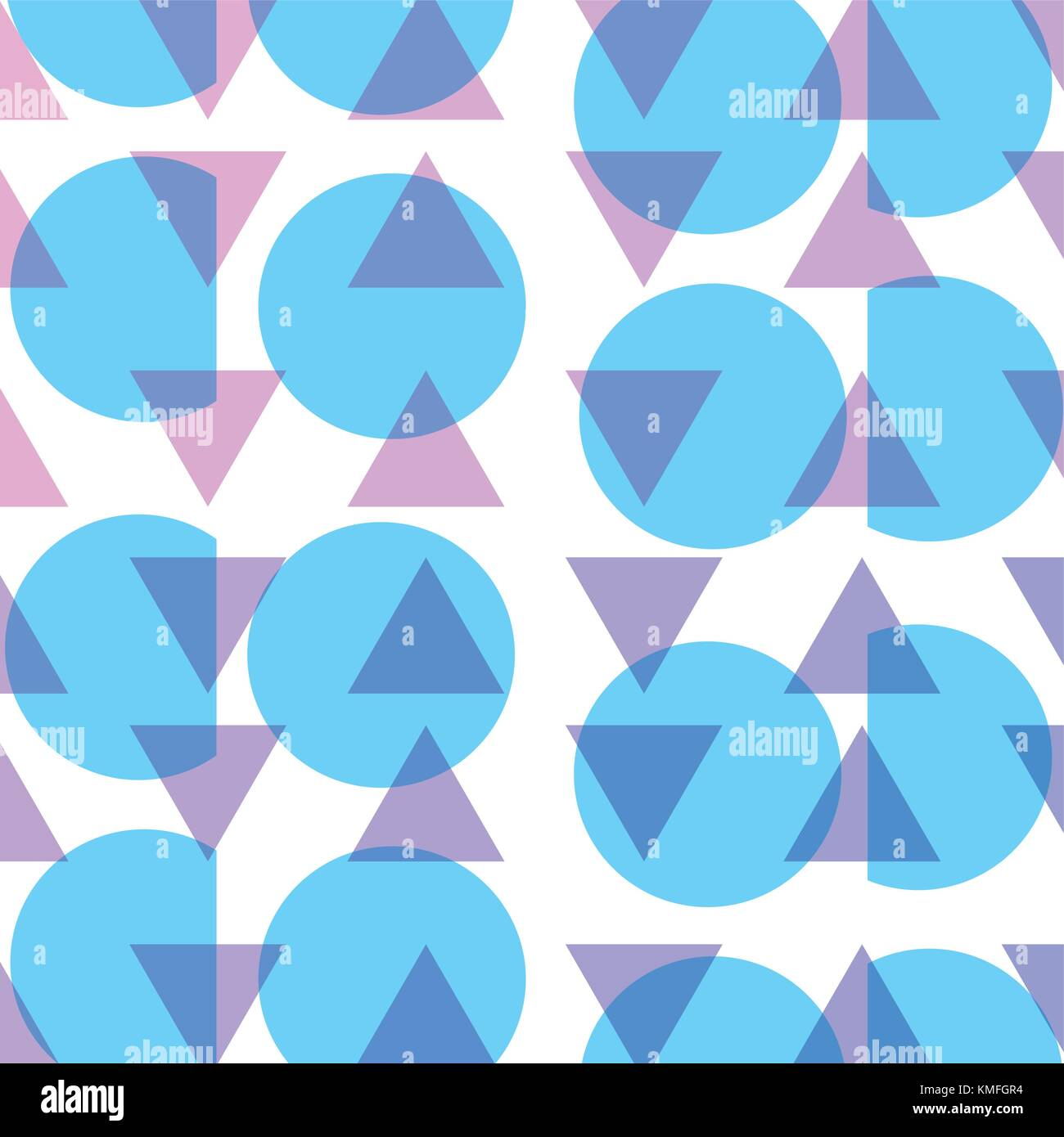 circle and triangle memphis style background - Stock Image