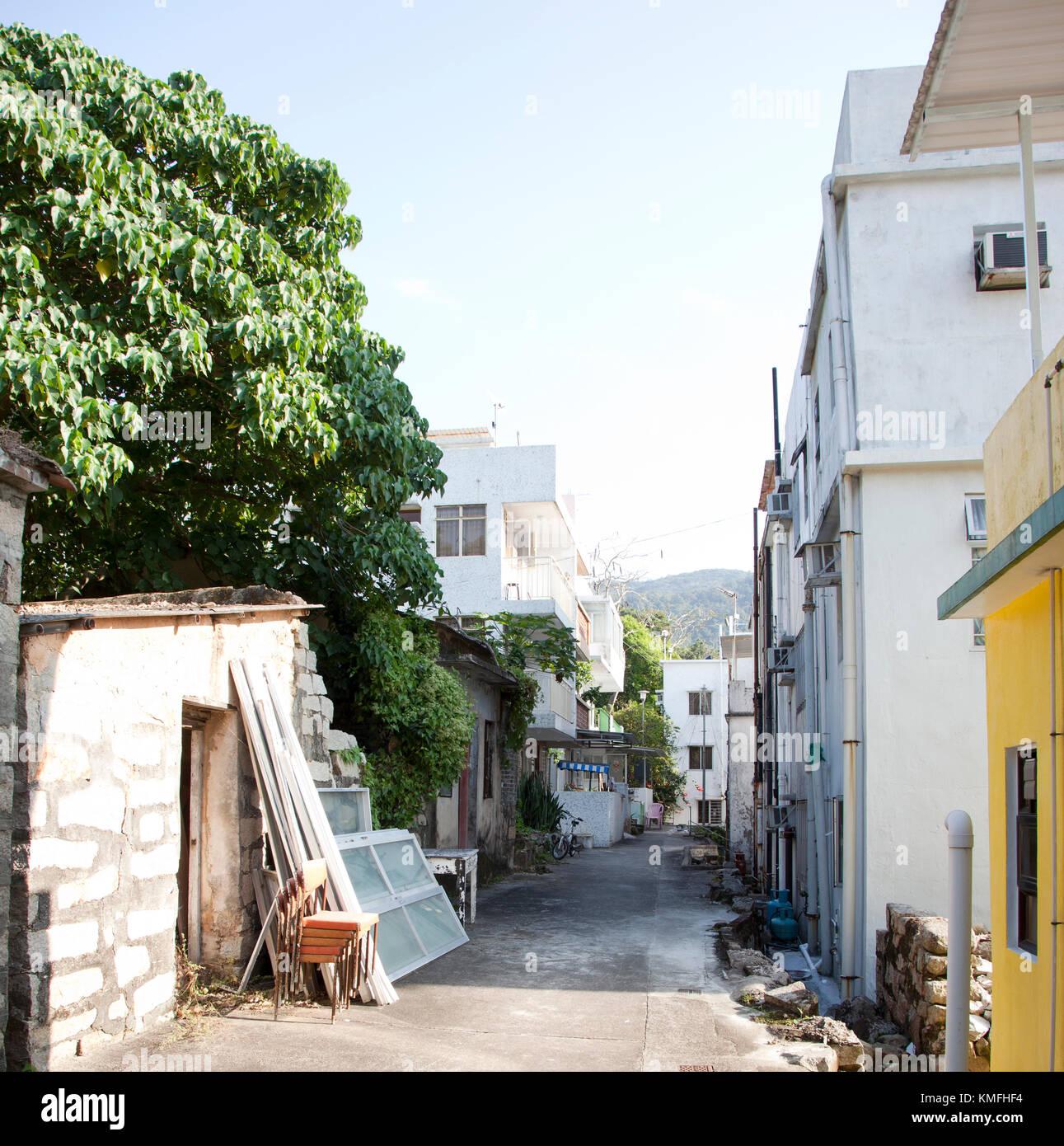 a rural back alley in a village on Lantau Island, Hong Kong - Stock Image