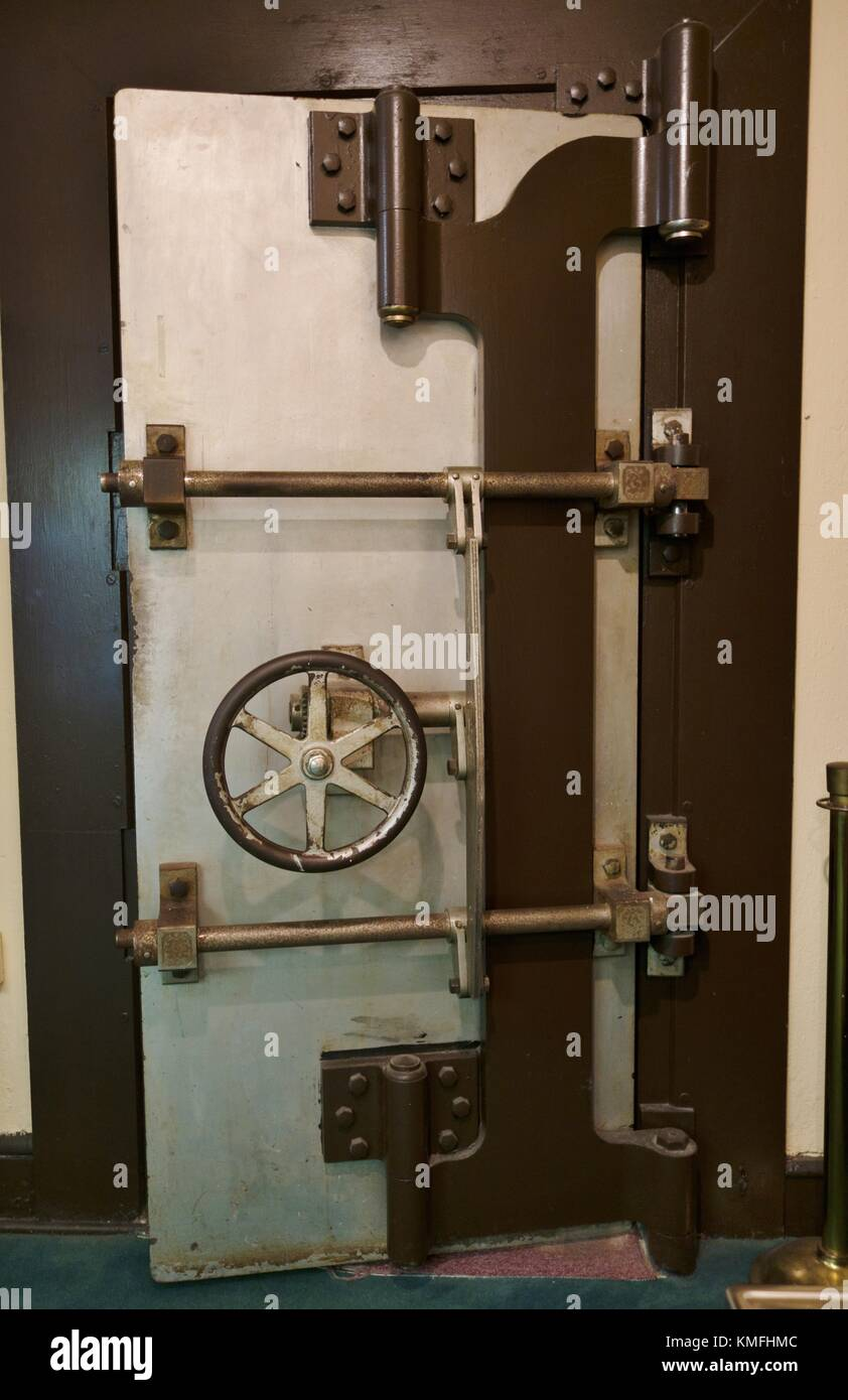 An old bank vault door at the Halifax Historical Museum in Daytona Beach, Florida, USA. - Stock Image