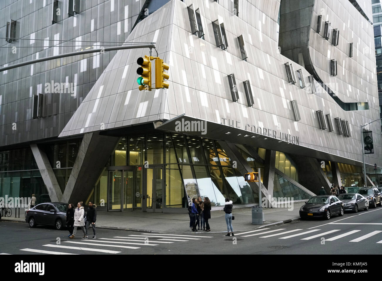 41 Cooper Square the new Cooper Union building designed by Thom Mayne  of Morphosis near Cooper Union square in Stock Photo