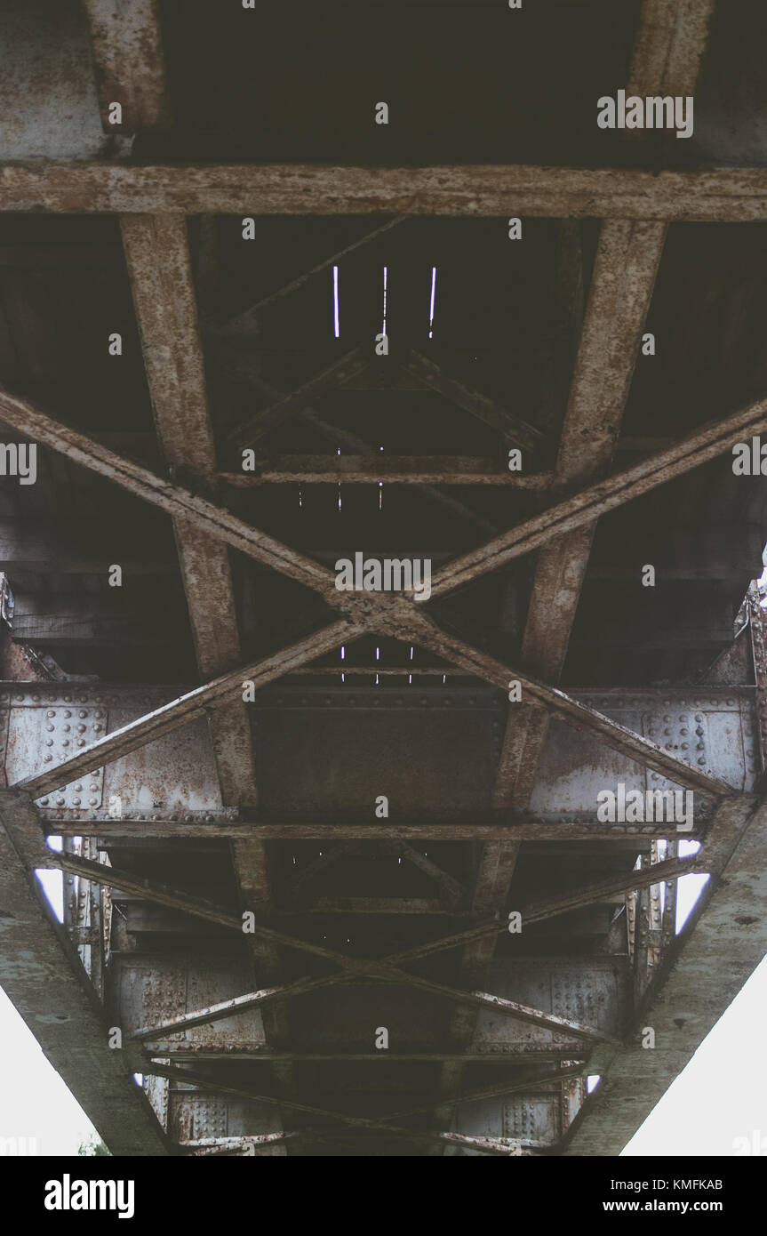 Bridge constructions from the bottom. Stock Photo