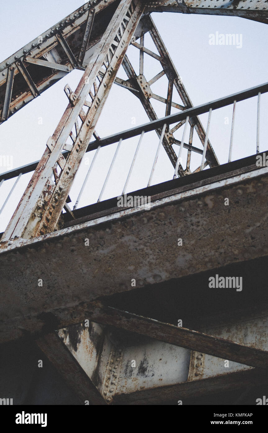 Dynamic railway bridge closeup. Stock Photo