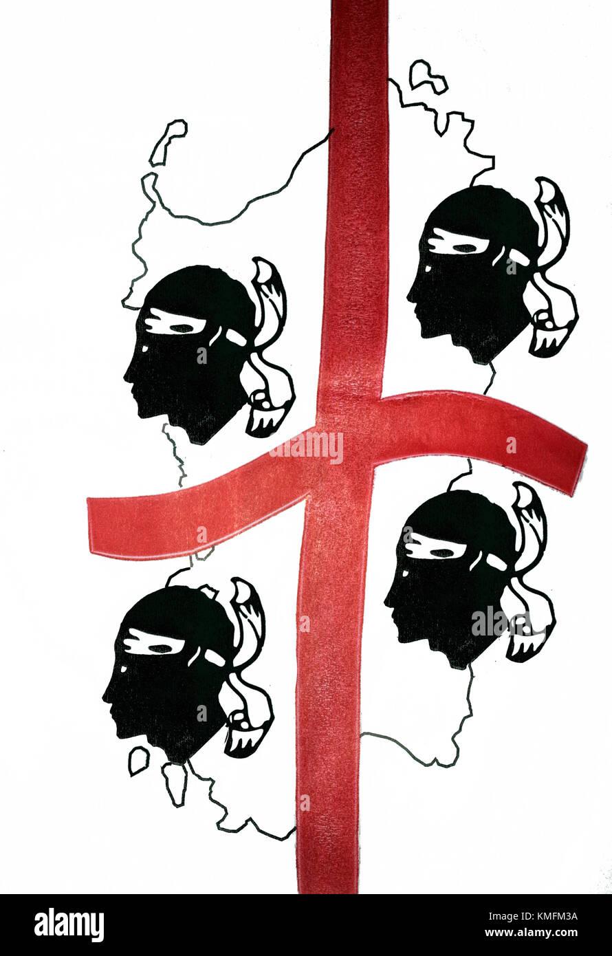 The 'Foor Moors', the symbol of Sardinia - Stock Image