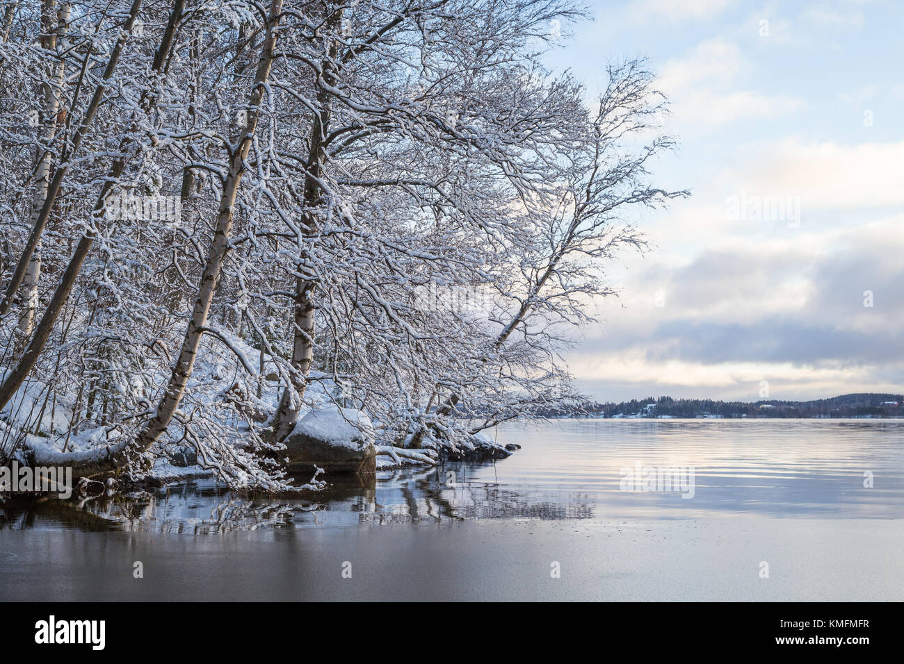 Beautiful view of snowy trees and Lake Pyhäjärvi in the winter in Tampere, Finland. - Stock Image