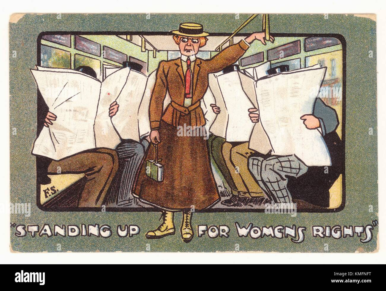 Edwardian propaganda comic picture postcard - standing up for women's rights - anti-suffragette card, typically - Stock Image