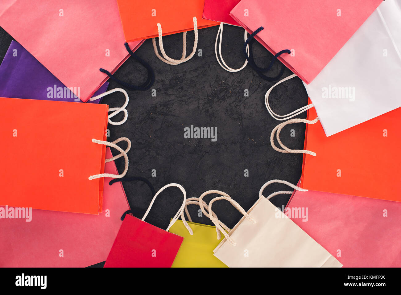 round frame of shopping bags - Stock Image