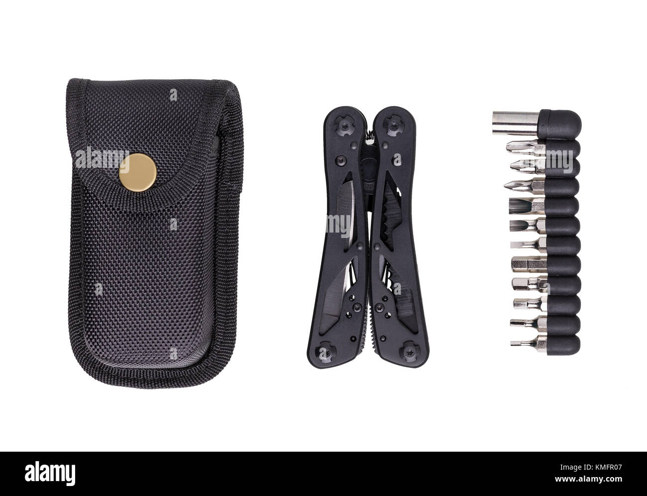 Set of black multitool, set of bits for it and cover on white background. Multitool is a universal tool for various - Stock Image