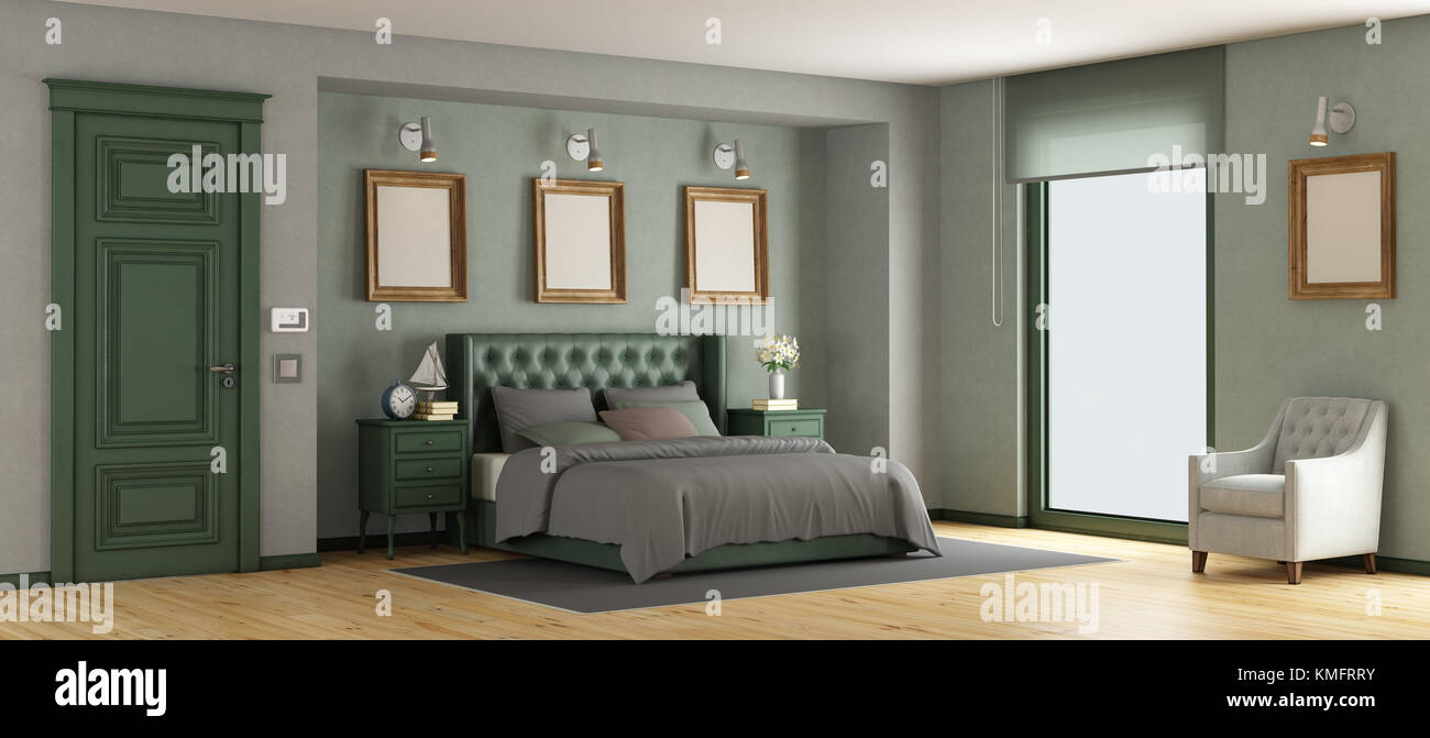 Green Classic Master Bedroom With Leather Double Bed   3d Rendering