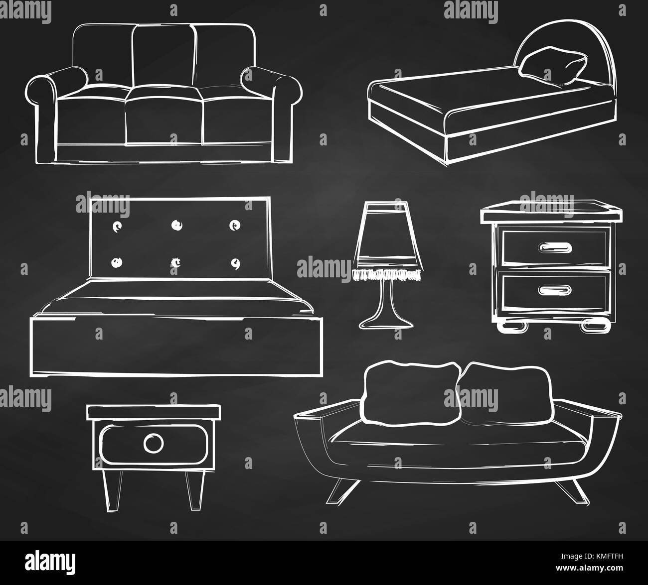 Sketch Set Isolated Furniture. Drawn Chalk On A Chalkboard.Vector  Illustration In A Sketch Style.
