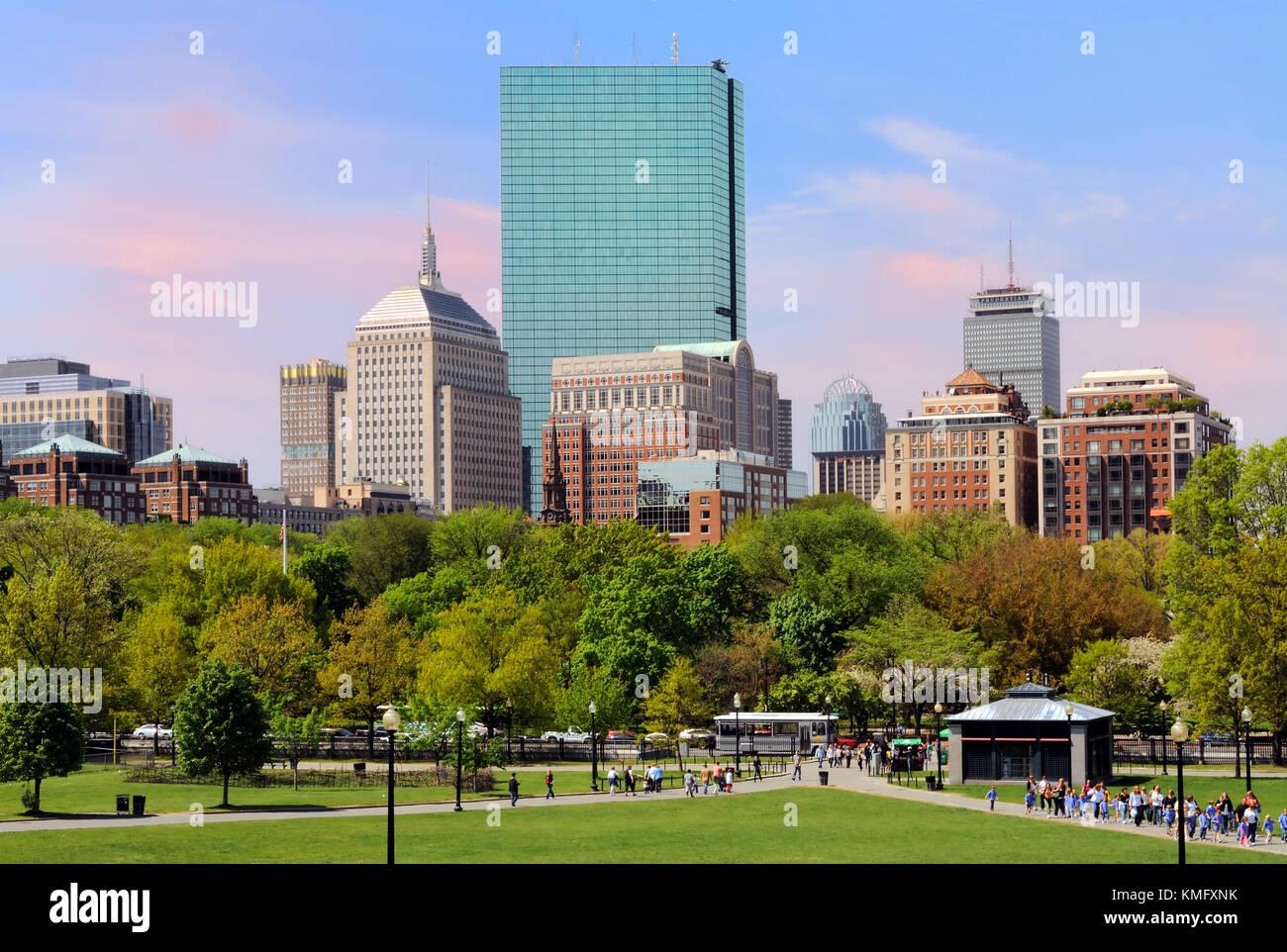 Back Bay skyline from Boston Common Stock Photo