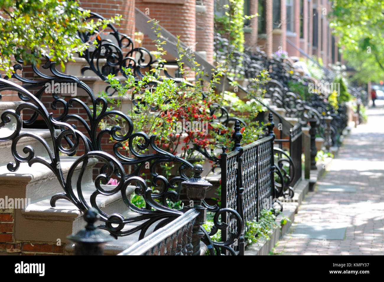 Cast iron railings and spring colors in Boston South End. - Stock Image