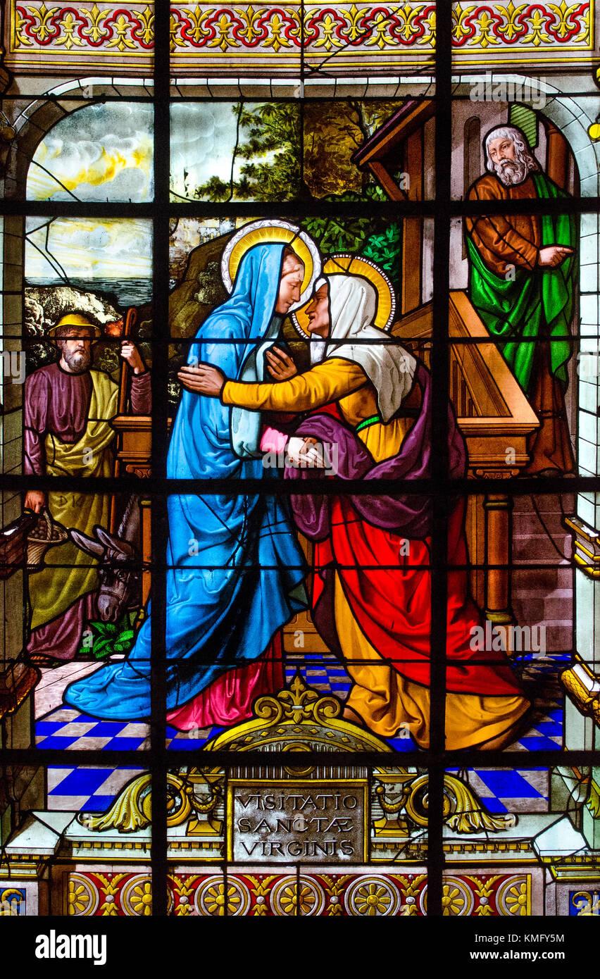 Paris, France. Notre Dame cathedral / Notre-Dame de Paris on Isle de la Cite. Stained glass window in the chapel - Stock Image