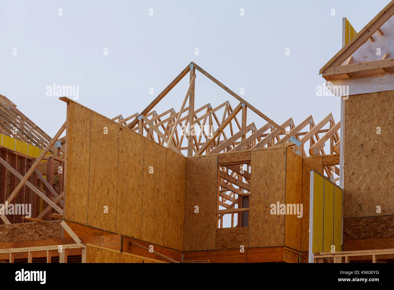 Construction of roof wood frame residential building under Stock ...