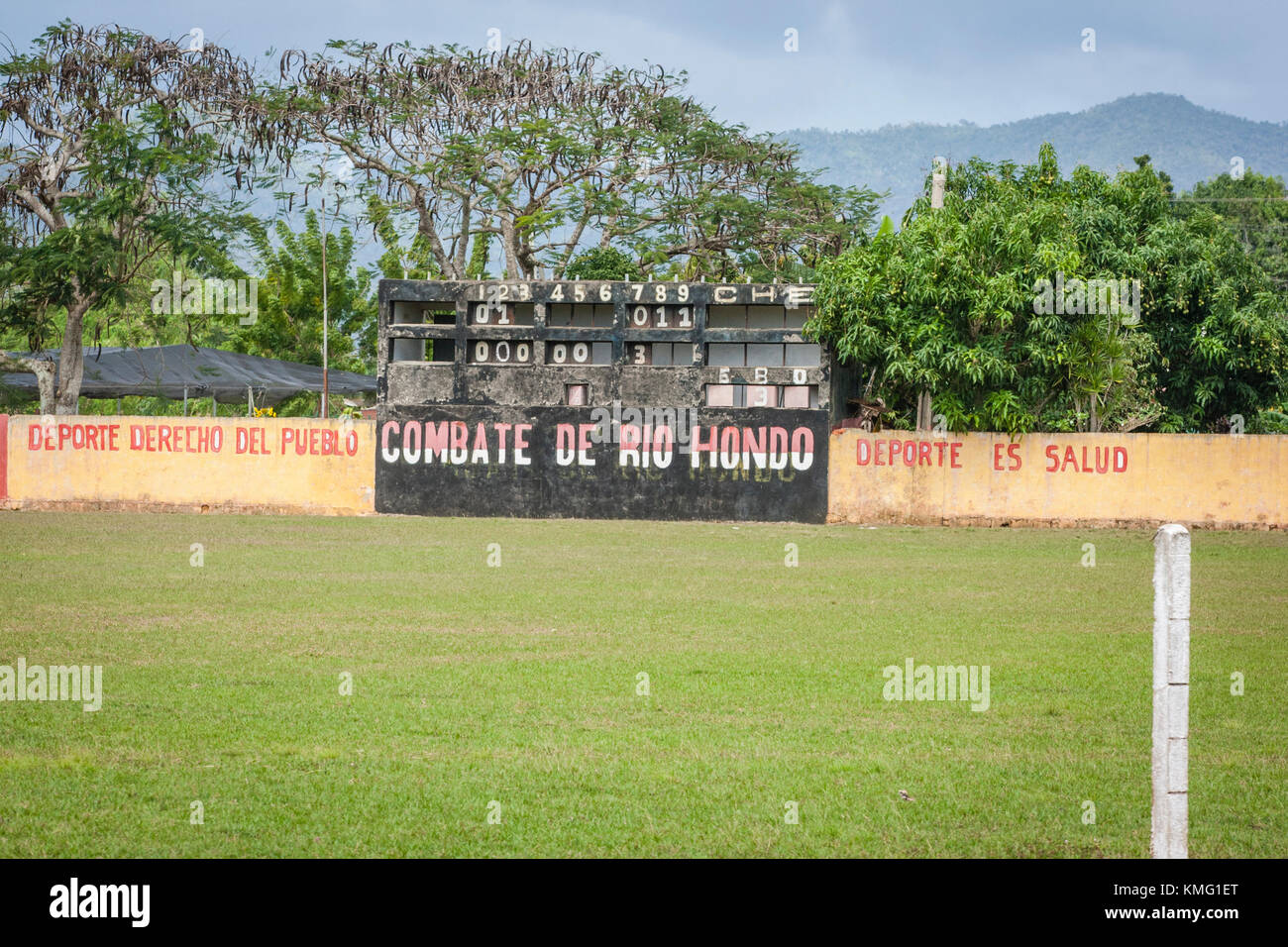 Baseball ground in Cuban town - Stock Image