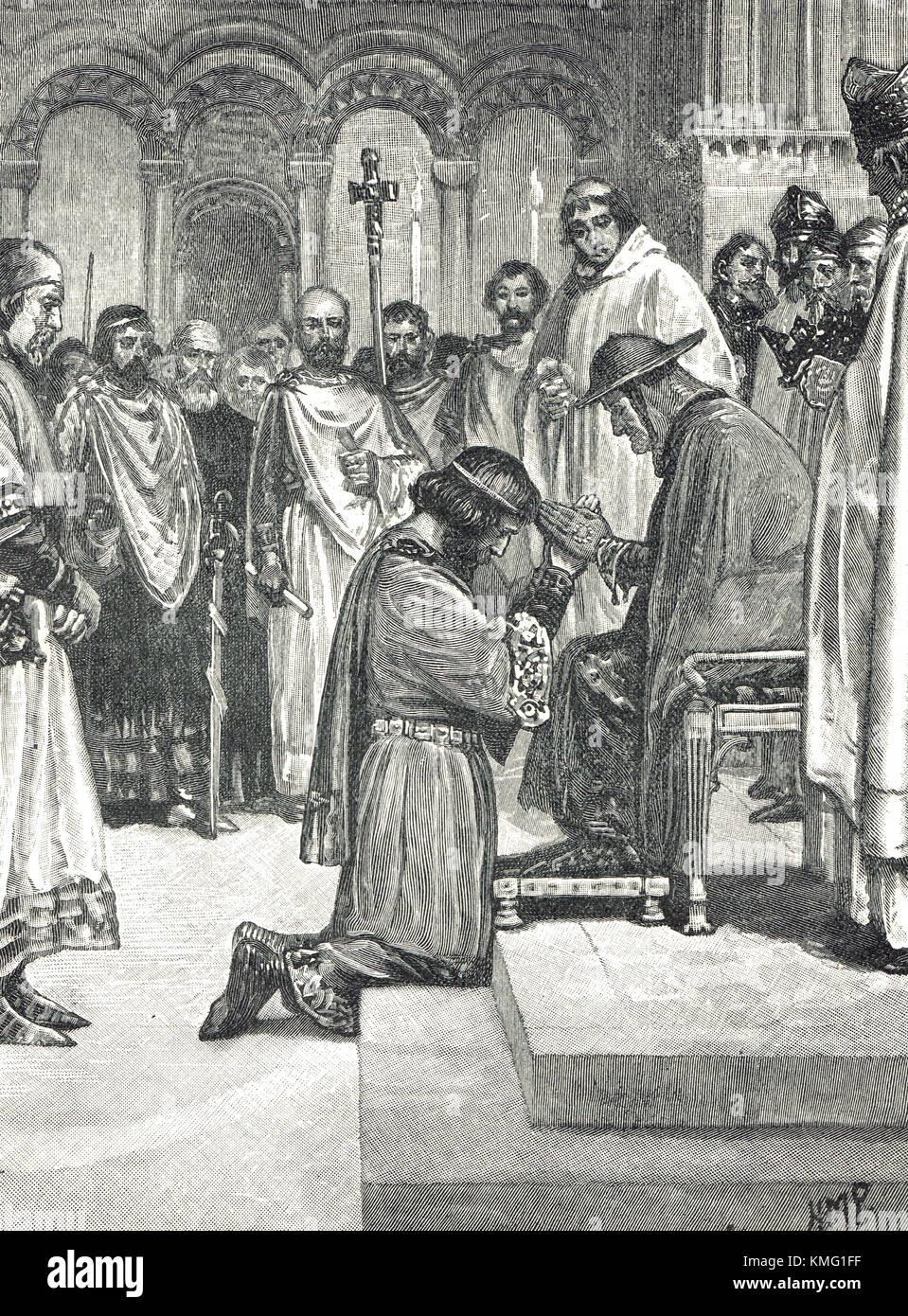 King John paying homage to the legate of Pope Innocent III in 1213 - Stock Image