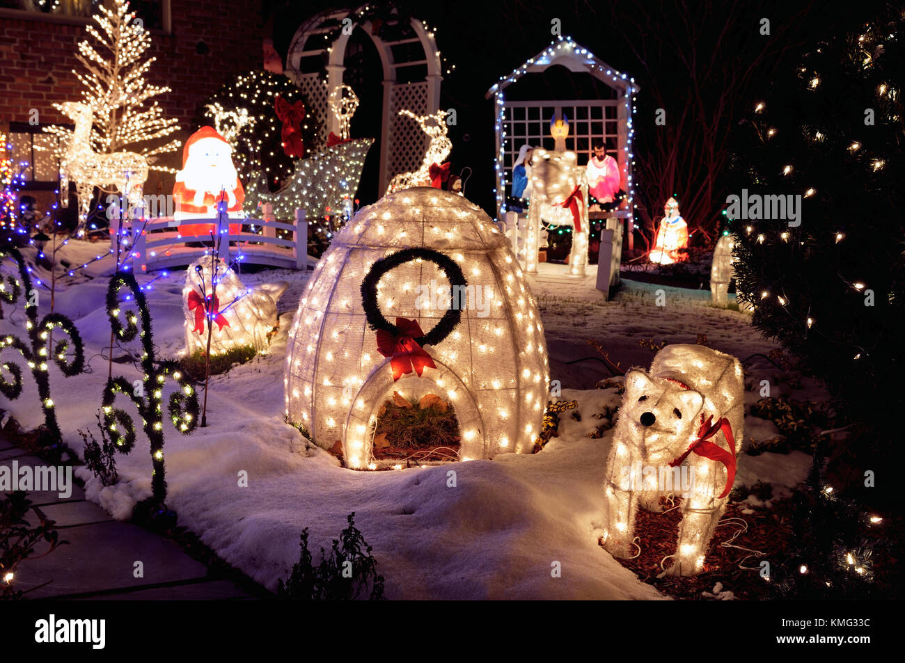 Outdoor christmas decoration at night lights and lighted ornaments outdoor christmas decoration at night lights and lighted ornaments stock photo 167540112 alamy aloadofball Choice Image
