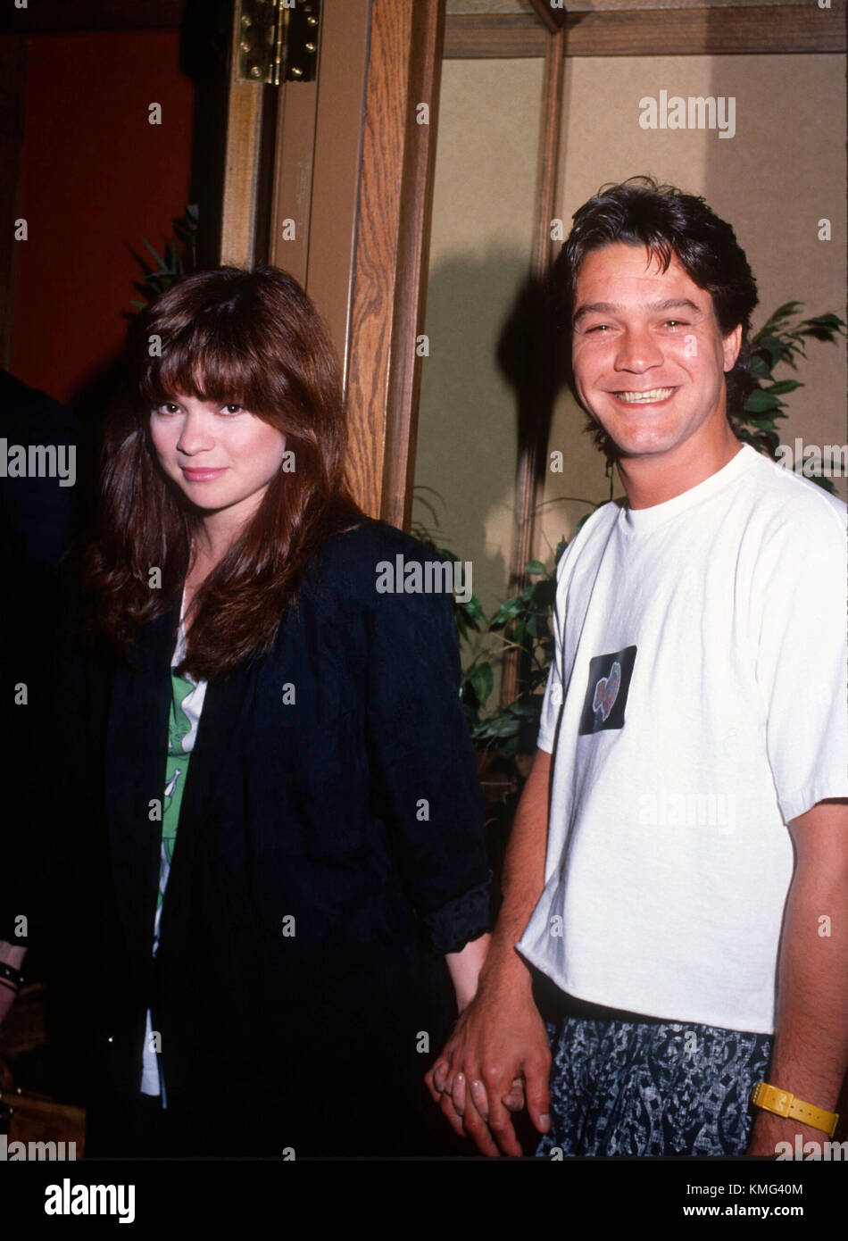 24720a69d Actress Valerie Bertinelli and musician Eddie Van Halen attend Billy Idol  concert backstage at The Forum