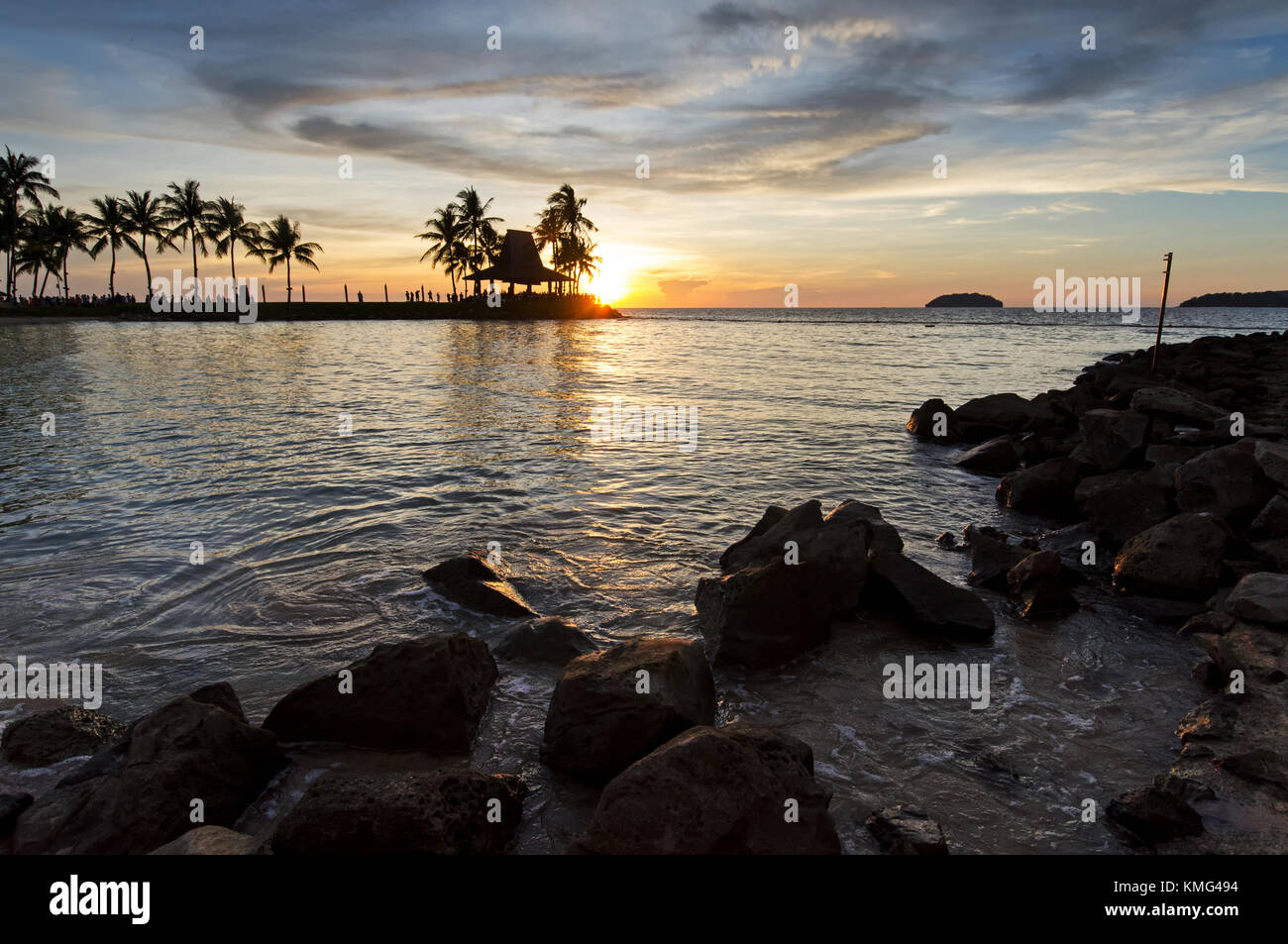 Kota Kinabalu beach sunset, Sabah Borneo Malaysia. - Stock Image