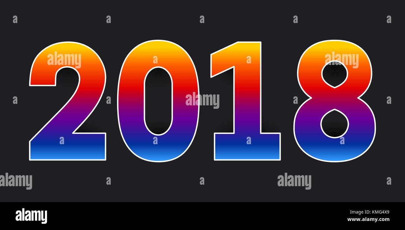 2018 happy new year colorful numbers with retro multicolor gradient and white stroke on black background