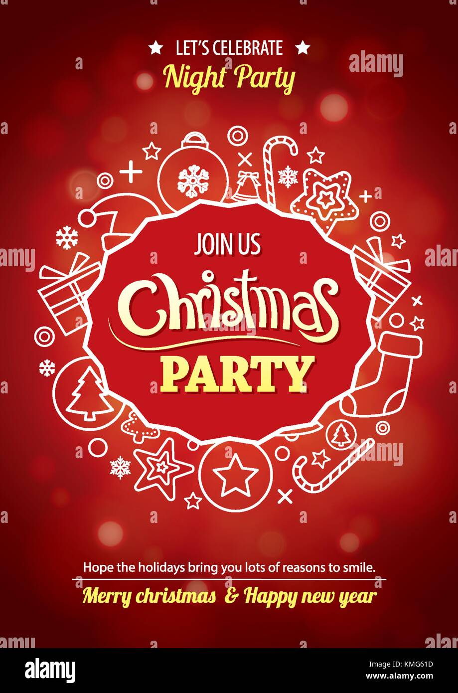 Merry Christmas Party For Flyer Brochure Design On Red Background