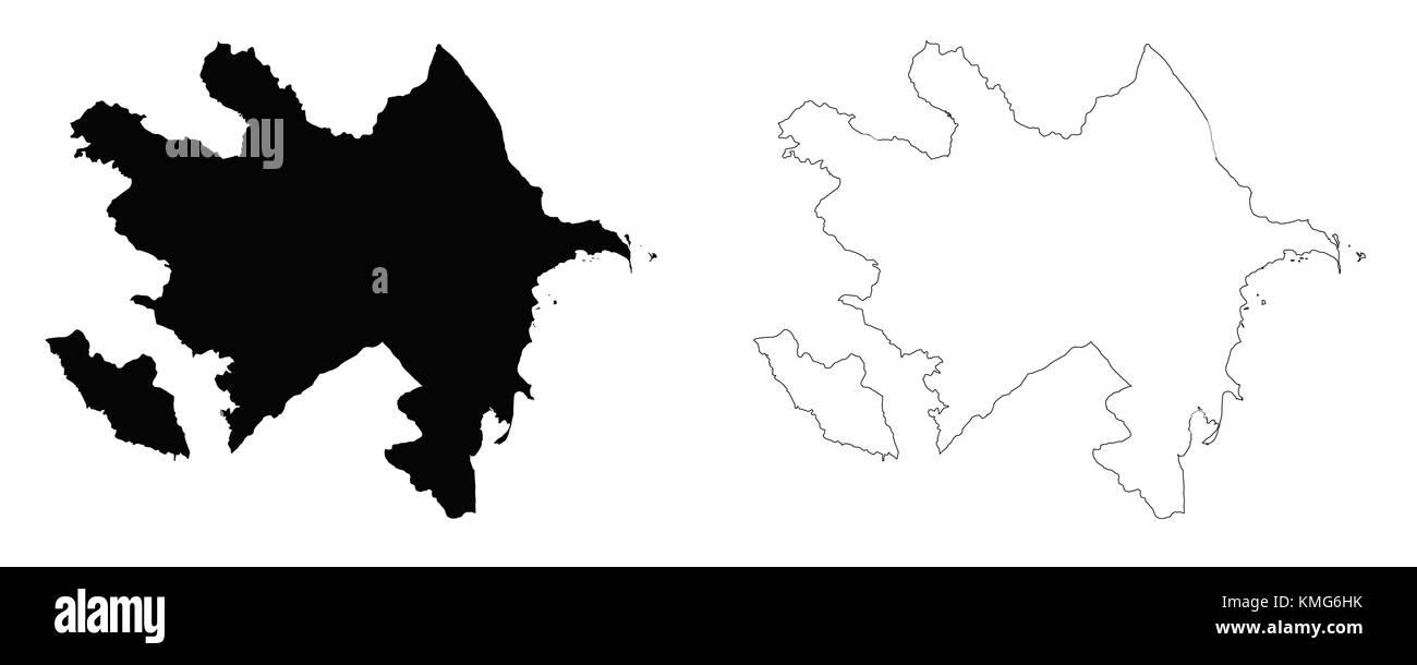 Azerbaijan outline map - Stock Vector