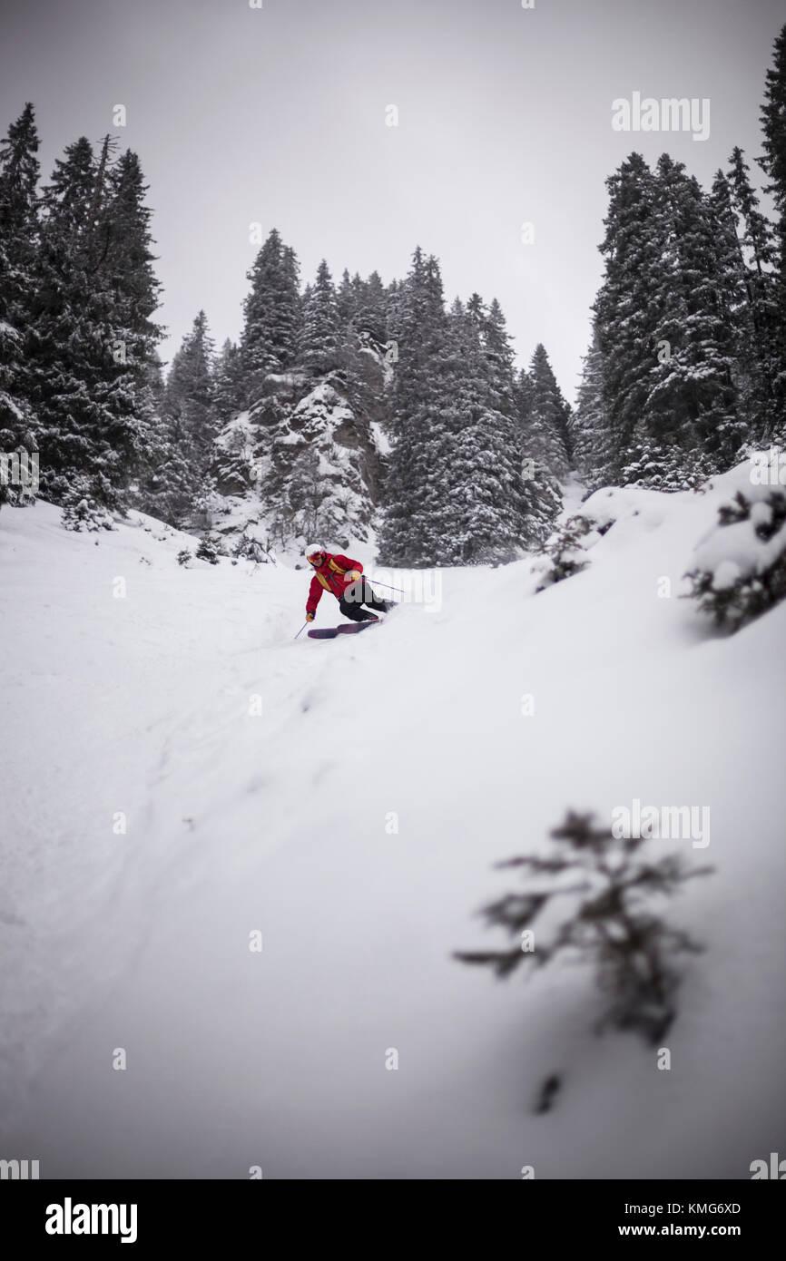 Man skiing downhill on snow - Stock Image