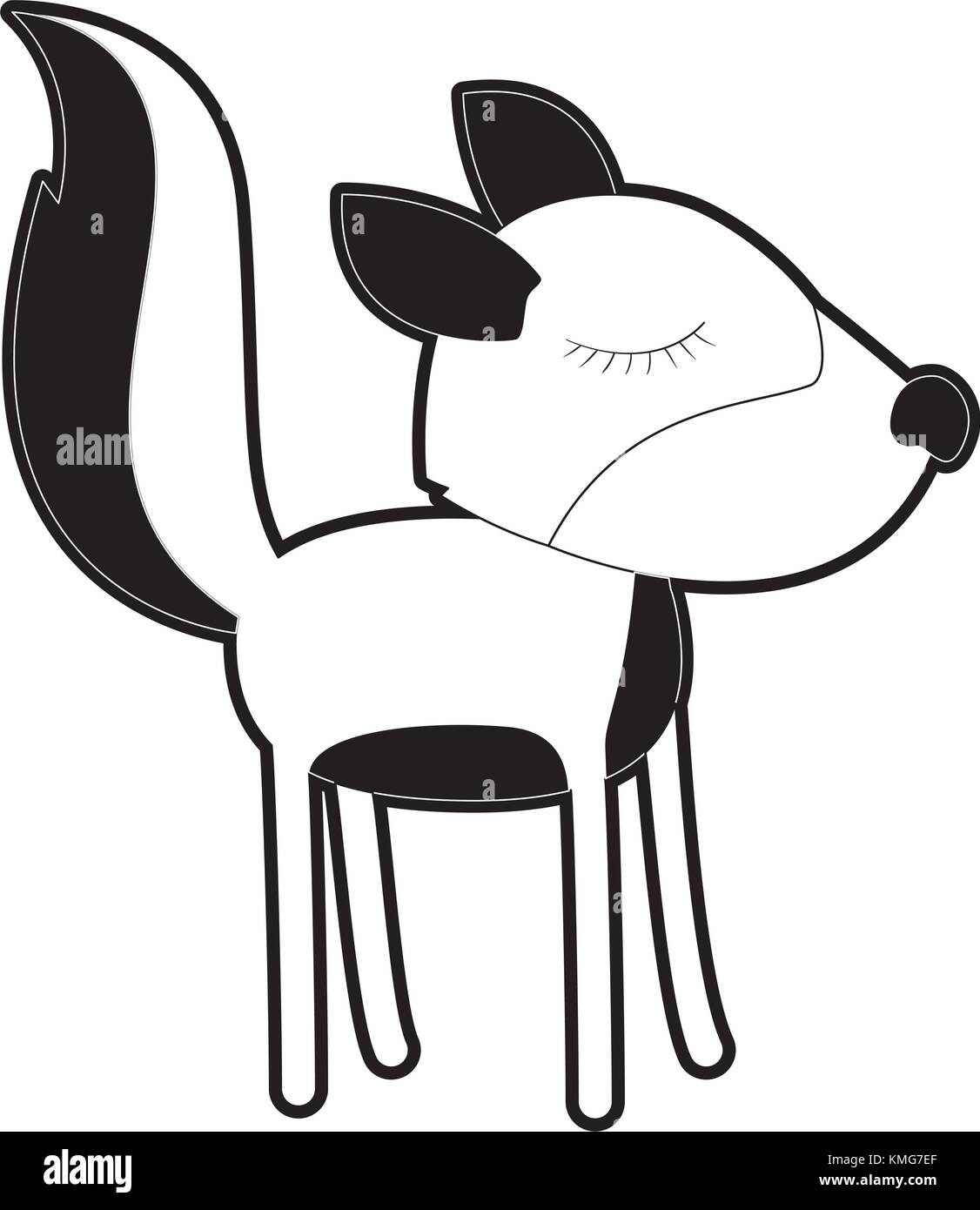 Female Wolf Cartoon With Closed Eyes Expression In Black