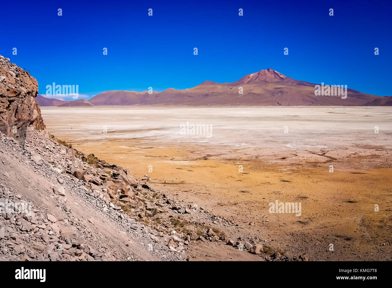 Dry land plain in the Altiplano mountains near Salar de Uyuni in summer, Andes, Bolivia - Stock Image