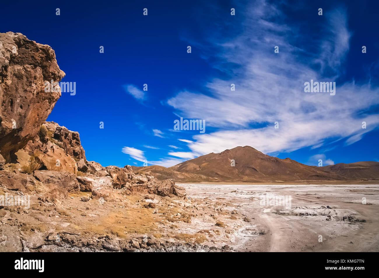 Dry land plain in the Altiplano mountains near Salar de Uyuni in summer, Andes, Bolivia Stock Photo