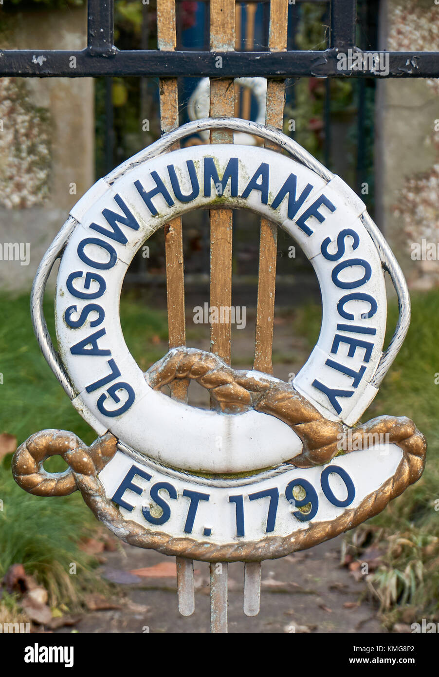 Glasgow, Scotland - 1 December 2017 : A Glasgow Humane Society sign at the entrance gate. - Stock Image