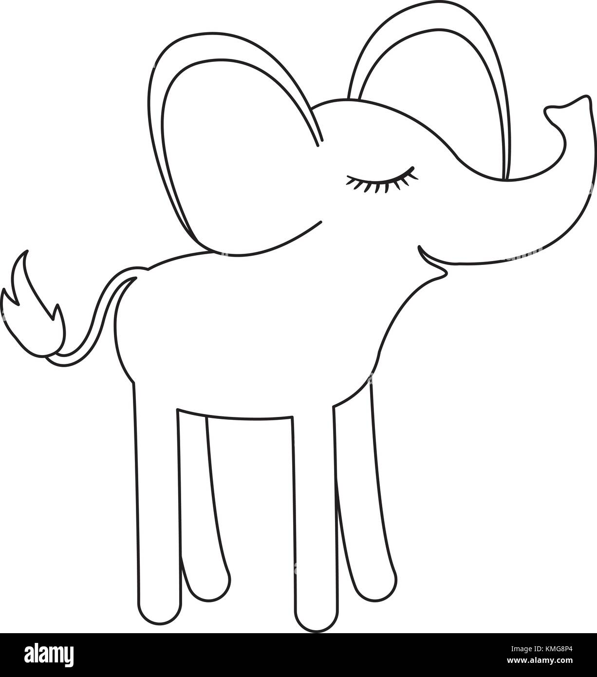 Female Elephant Cartoon With Closed Eyes Expression In Monochrome