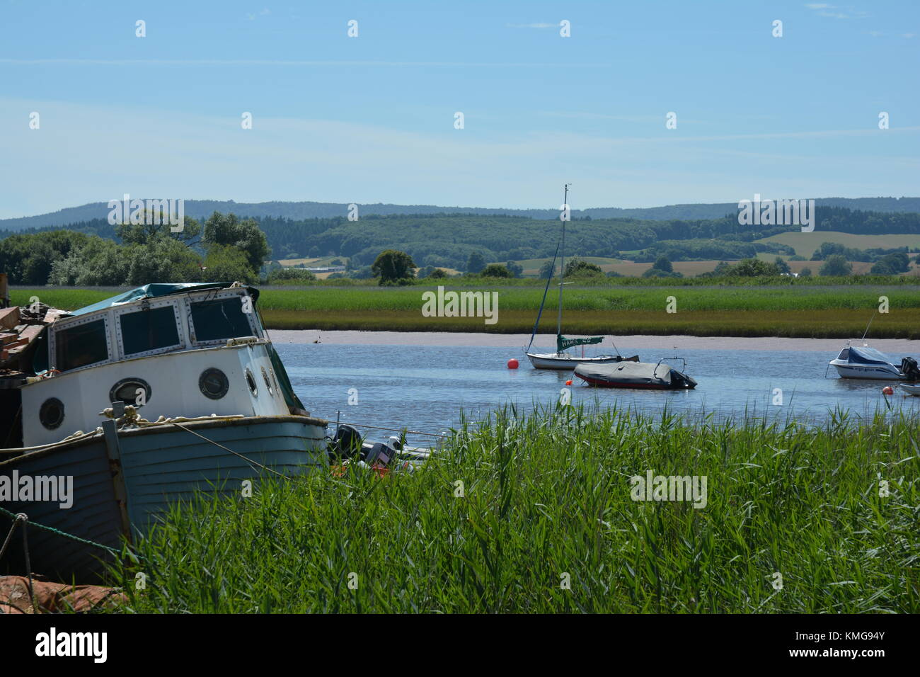 Boats on the River Exe at Topsham, Devon - Stock Image