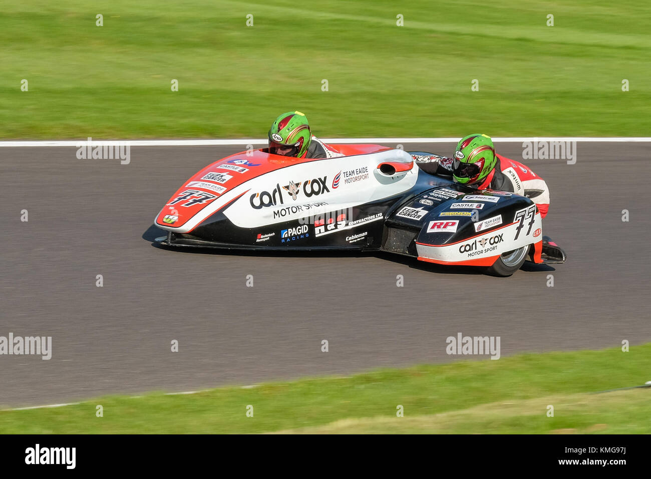 Tim and Tristan Reeves during the Hyundai British Sidecar Championship, Round 8 at Cadwell in Lincolnshire 2017 - Stock Image