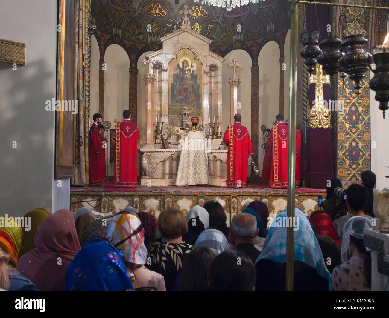 Sunday mass in the imposing cathedral at Mother See of Holy Etchmiadzin, seat of the Apostolic Church, in Vagharshapat Stock Photo