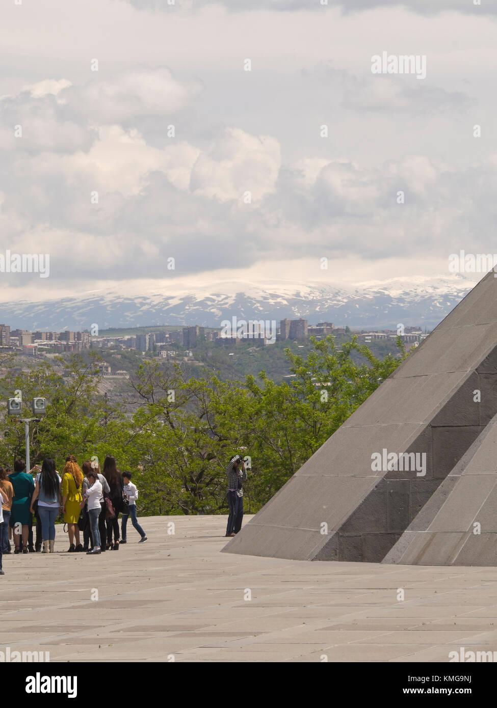 Armenian heritage, the genocide memorial and museum, Tsitsernakaberd,on a hilltop n Yerevan Armenia - Stock Image