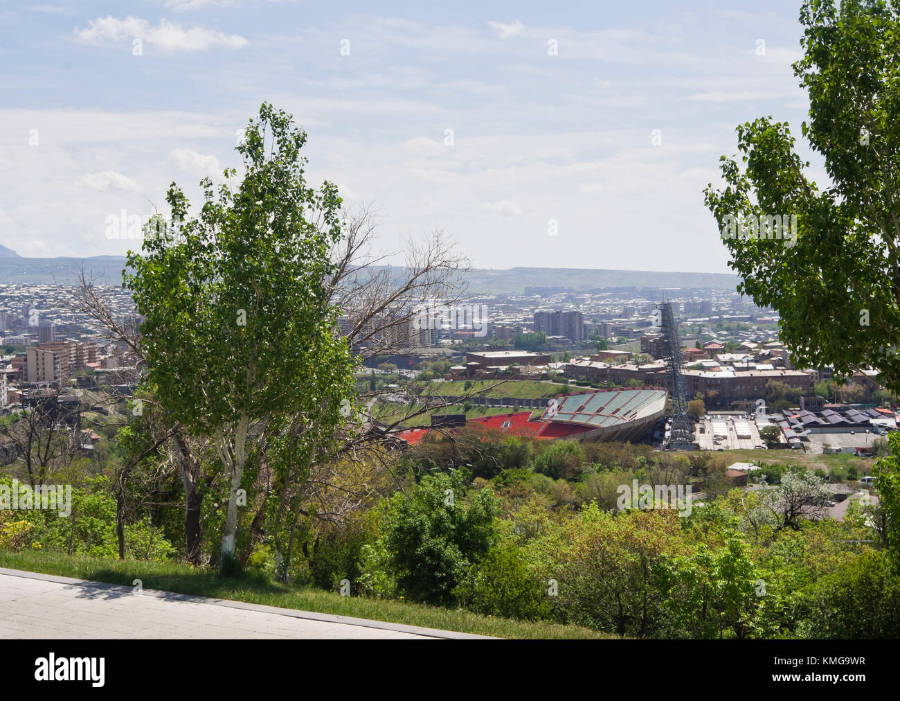 Panorama view of the capital and Hrazdan Central Stadium the main football arena in Yerevan, Armenia - Stock Image