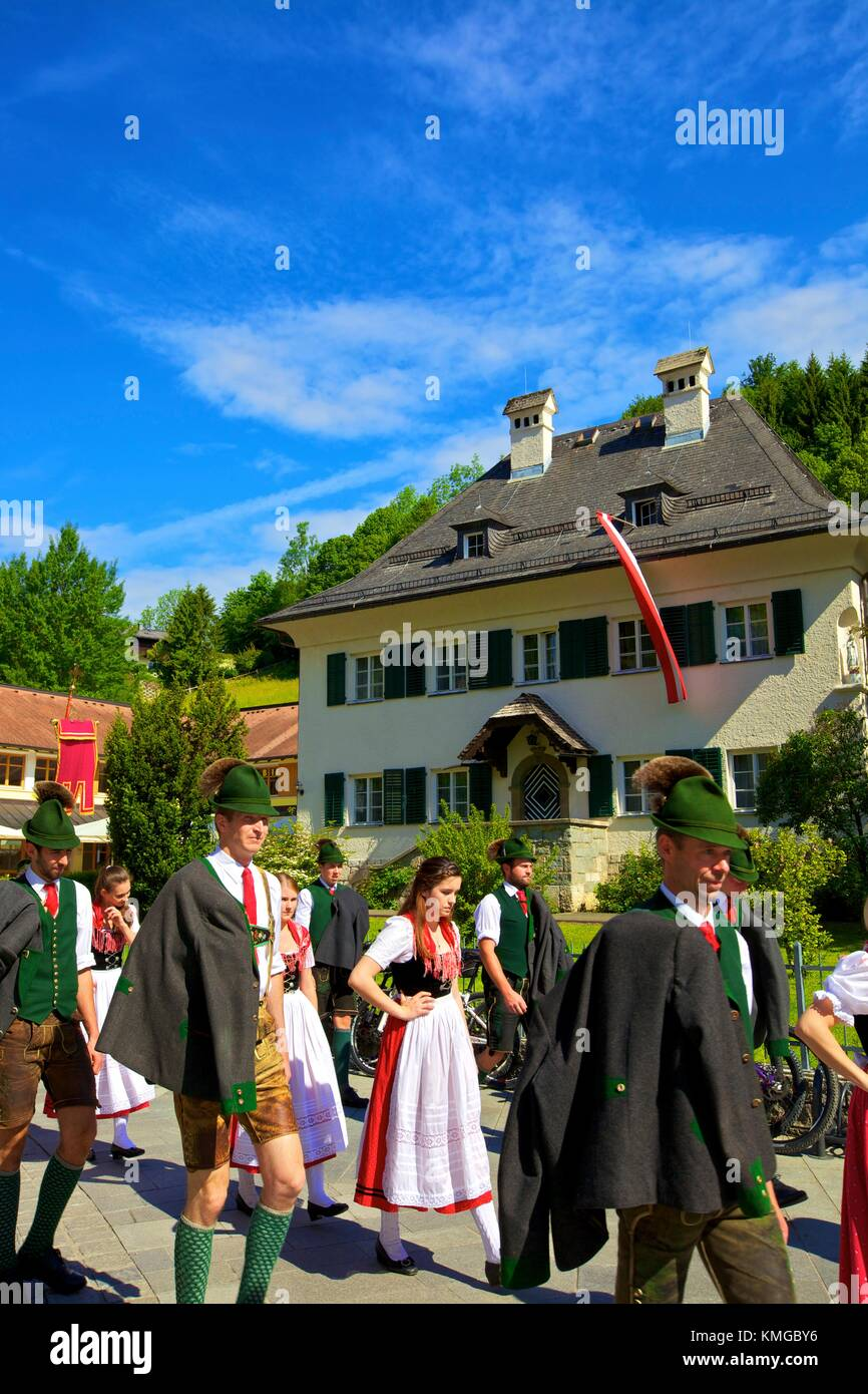 Participants in the Feast of Corpus Christi Celebrations in their Traditional Dress, St. Wolfgang, Wolfgangsee Lake, - Stock Image