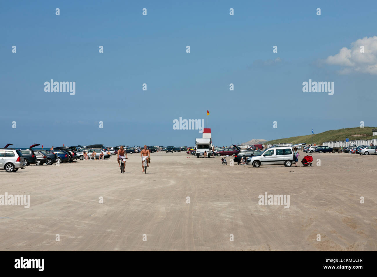 The famous beach at Blokhus in north-western Jutland, Denmark, where cars are allowed on the beach. - Stock Image