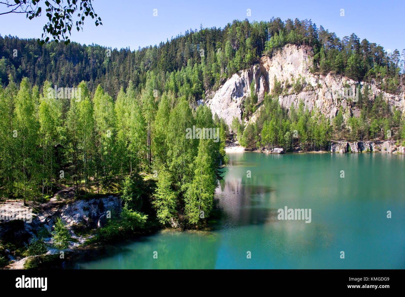limestone Adrspach rock town and quarry lake - national natural landmark - National park of Adrspach-Teplice rocks - Stock Image