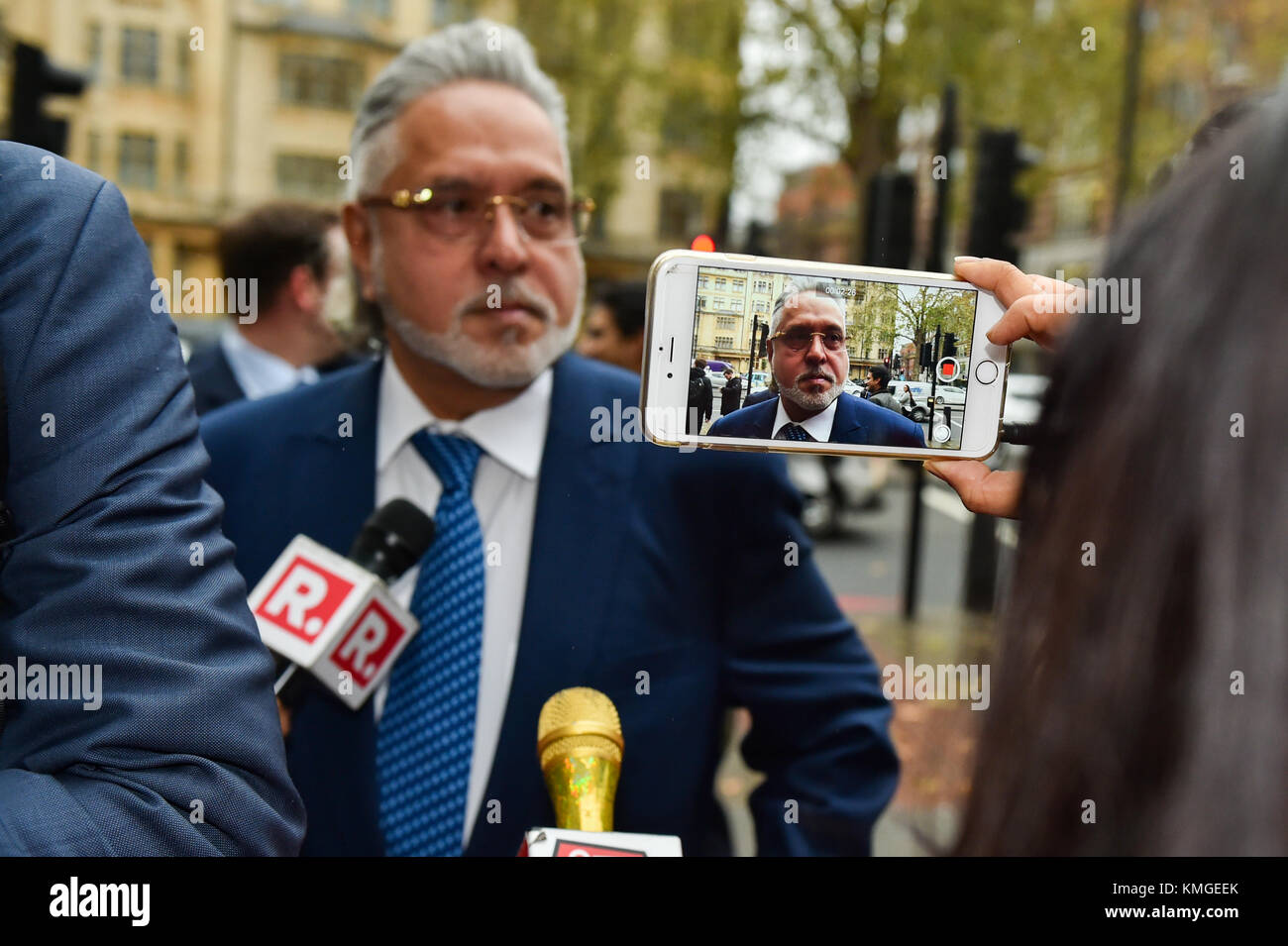London, United Kingdom. 7th December 2017. Force India F1 boss Vijay Mallyae arrives at Westminster Magistrates' Stock Photo