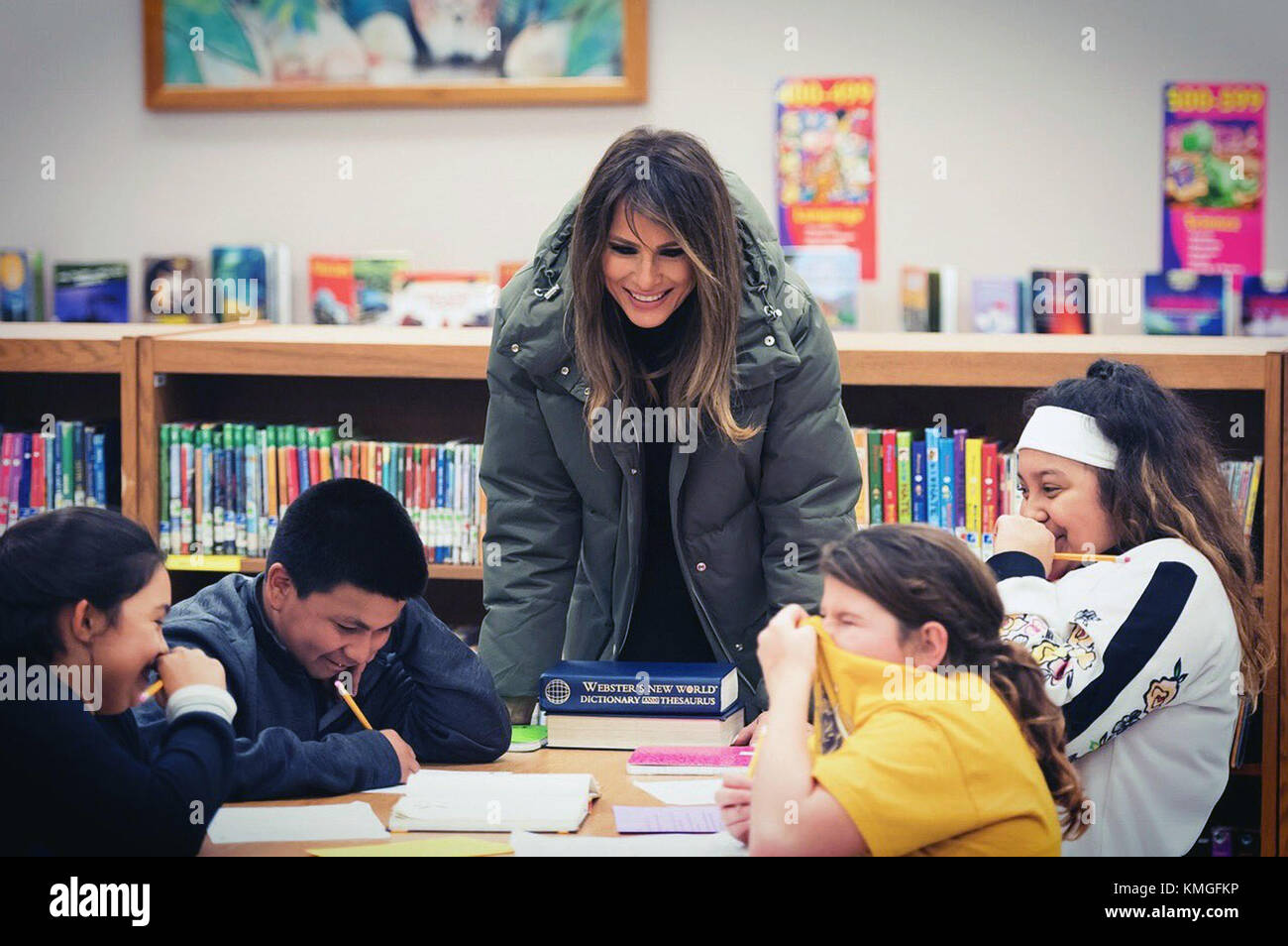 U.S. First Lady Melania Trump works with a young student during a visit to the Charlie Marshall Elementary School - Stock Image