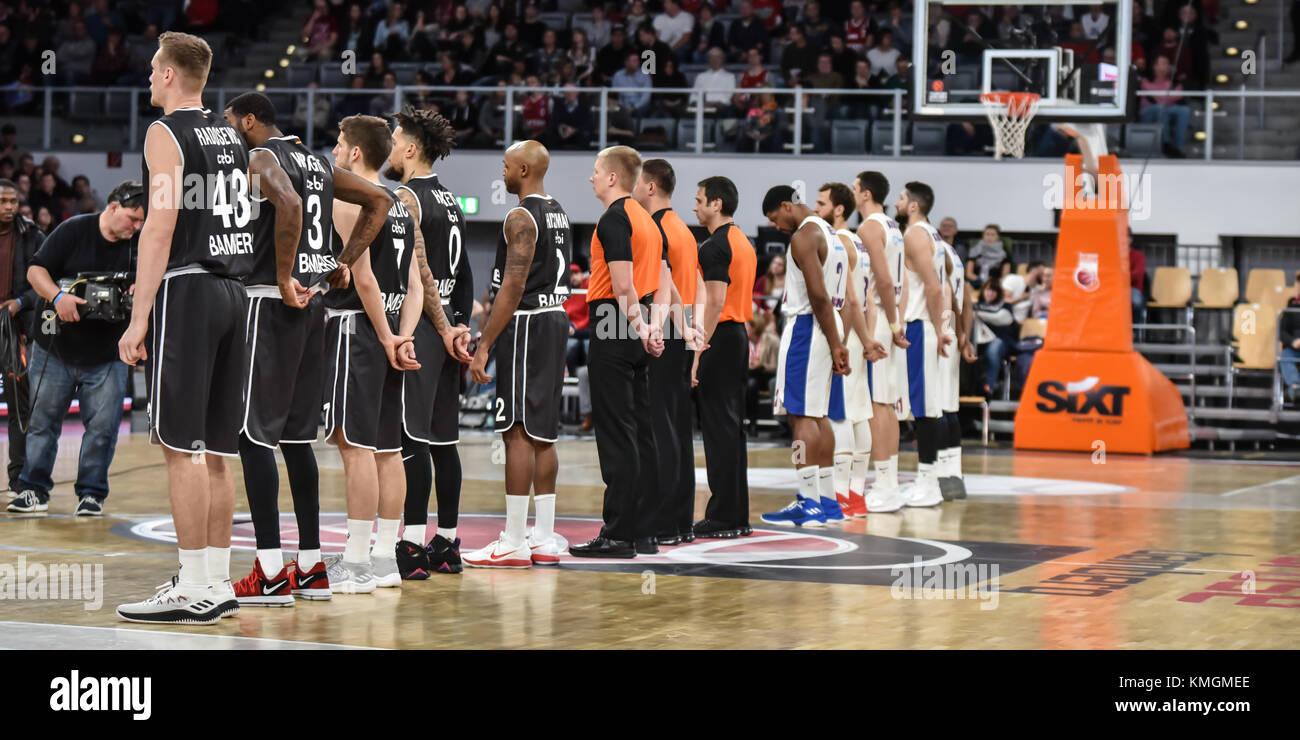 Bamberg, Deutschland. 07th Dec, 2017. Deutschland, Bamberg, Brose Arena, 07.12.2017, Basketball - Euro League - - Stock Image