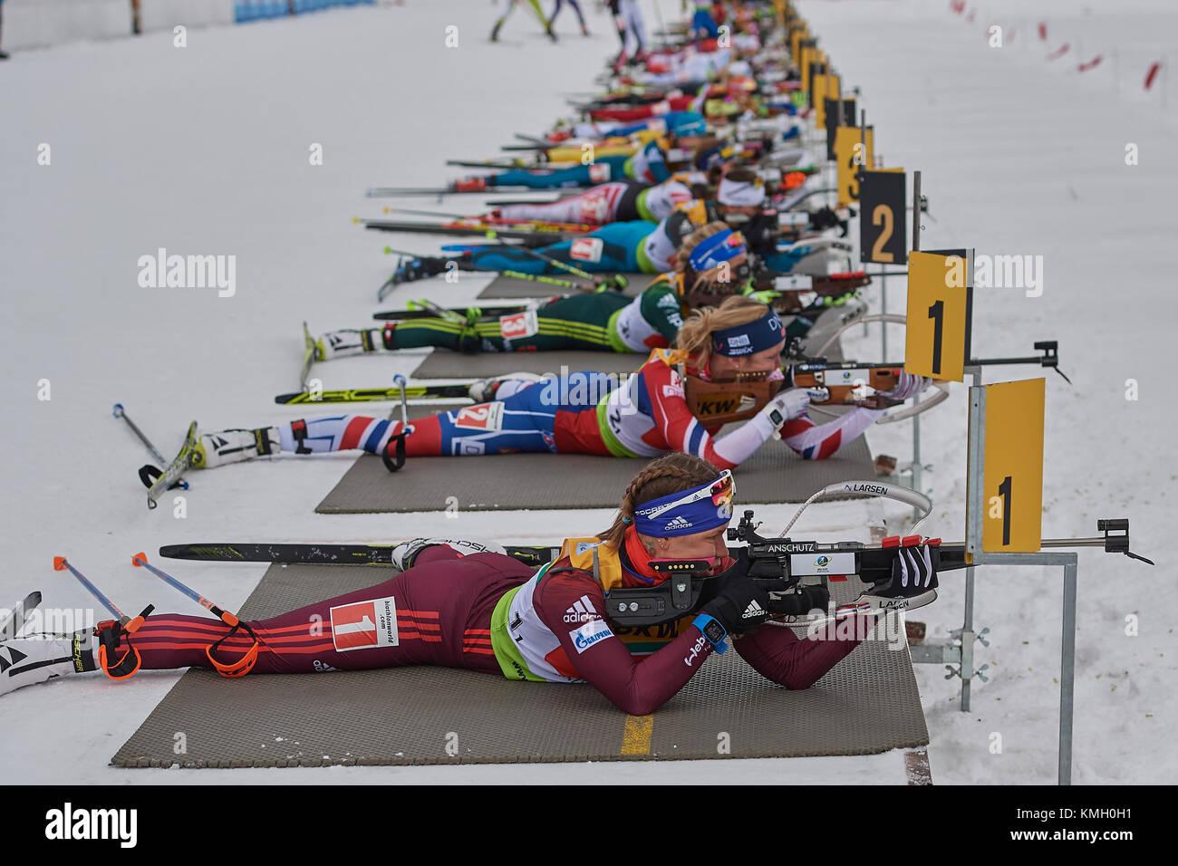 Lenzerheide, Switzerland. 8th Dec, 2017. Ladies during the IBU Biathlon Cup Single Mixed Relay in Lenzerheide. Credit: - Stock Image