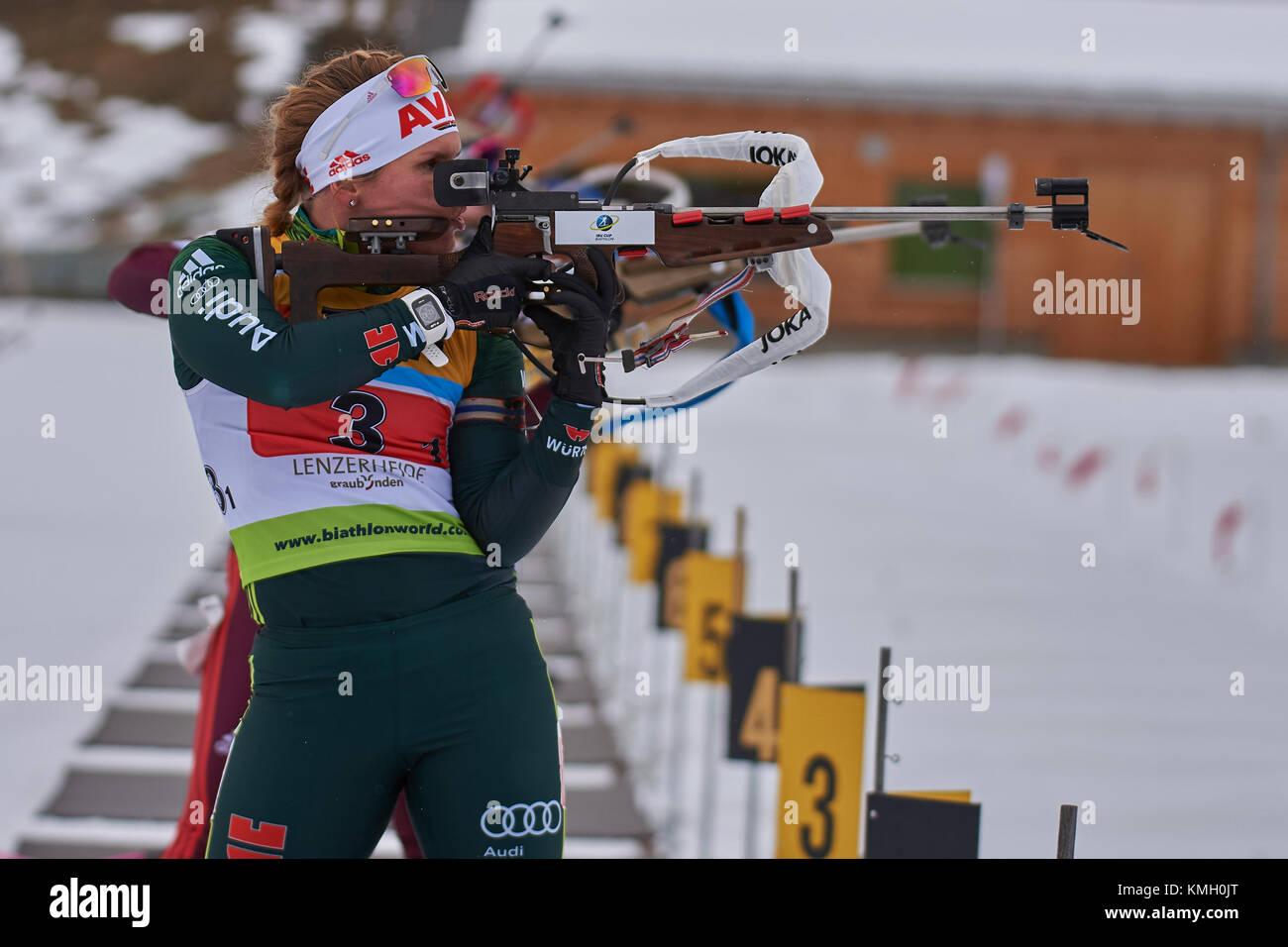 Lenzerheide, Switzerland. 8th Dec, 2017. HORCHLER Nadine (GER) during the IBU Biathlon Cup Mixed Relay in Lenzerheide. - Stock Image
