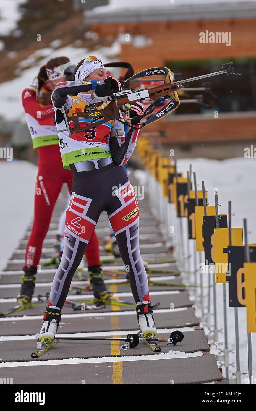 Lenzerheide, Switzerland. 8th Dec, 2017. SCHWAIGER Julia (AUT) during the IBU Biathlon Cup Mixed Relay in Lenzerheide. - Stock Image