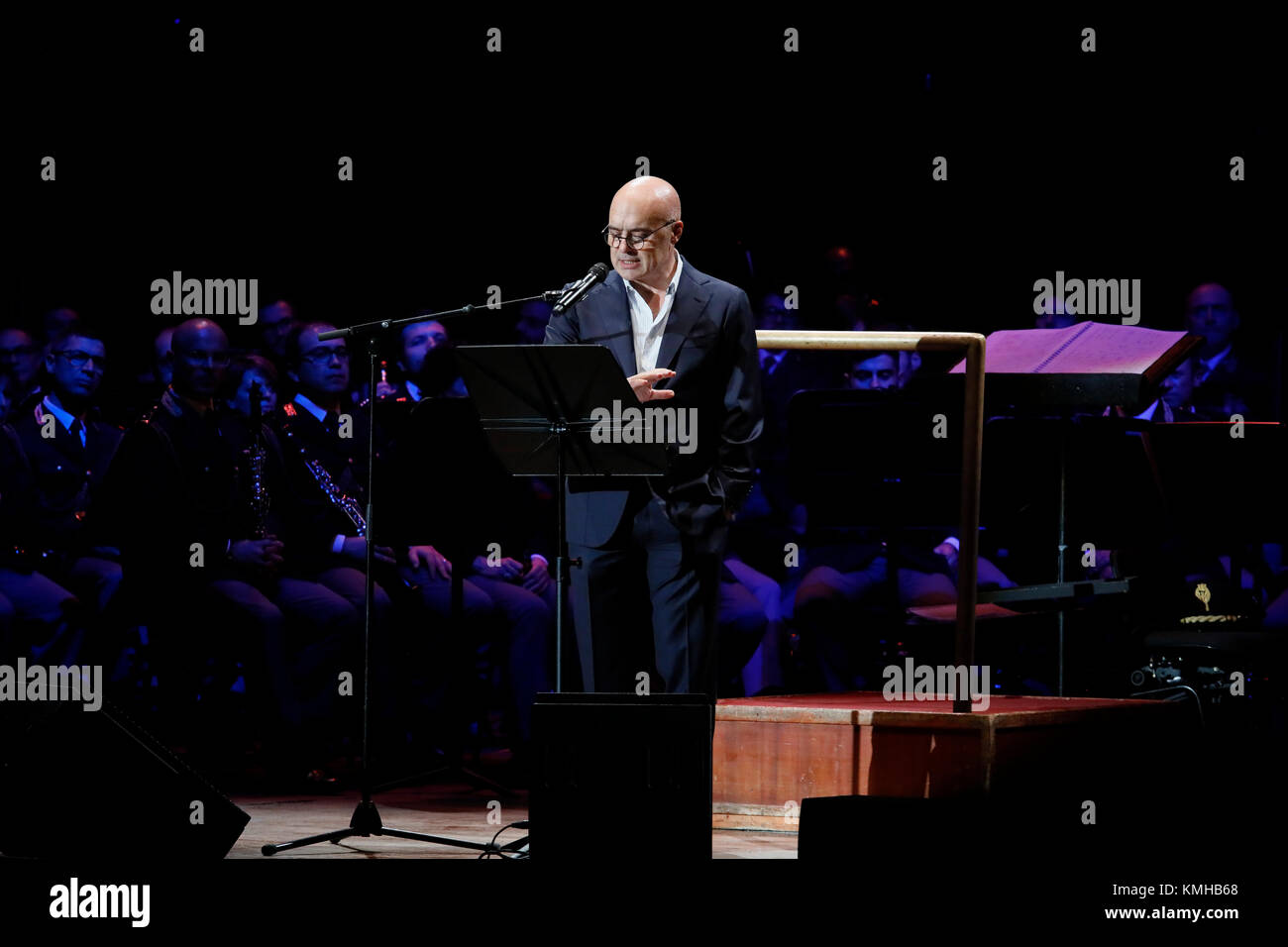 Rome, Italy - 11 December 2017: the actor Luca Zingaretti performs on the stage of the Auditorium Parco della Musica, - Stock Image