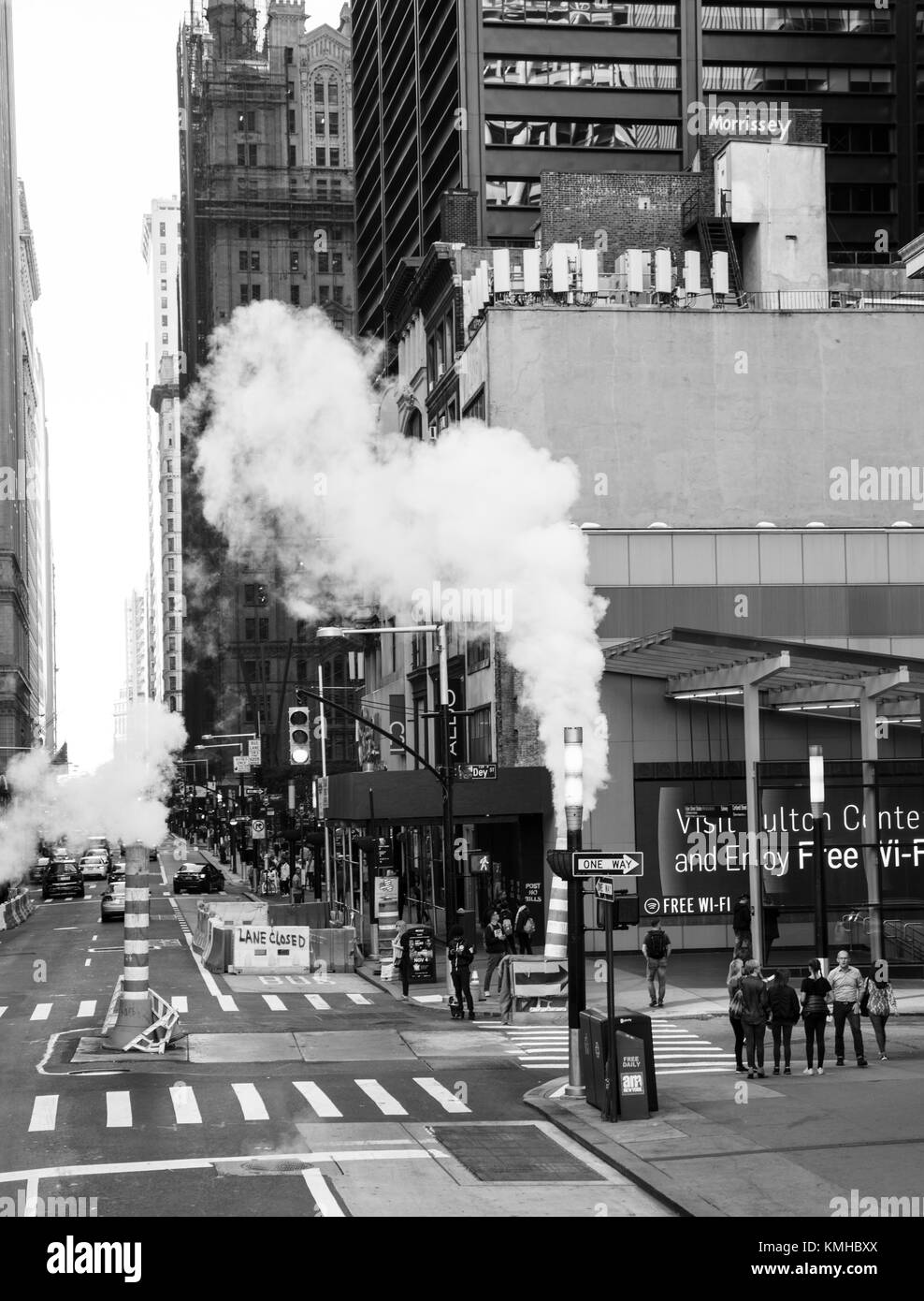 Black and White image of Steam from vents in Manhattan New York - Stock Image
