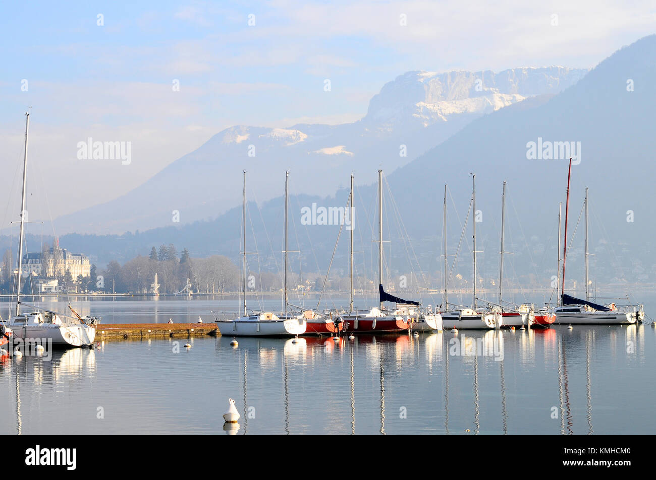 Marina and Boats on Annecy lake, France - Stock Image